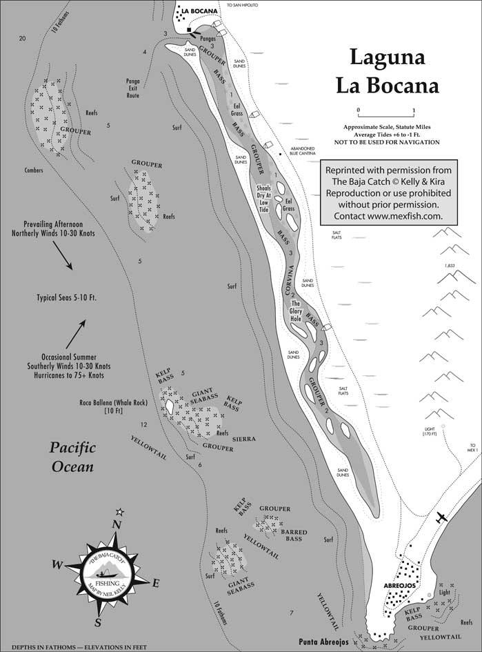 Laguna la bocana fishing map for Baja california fishing