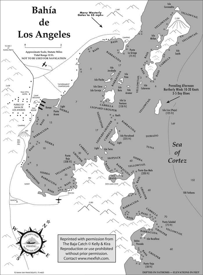 Bahia de los angeles map for Fishing in los angeles