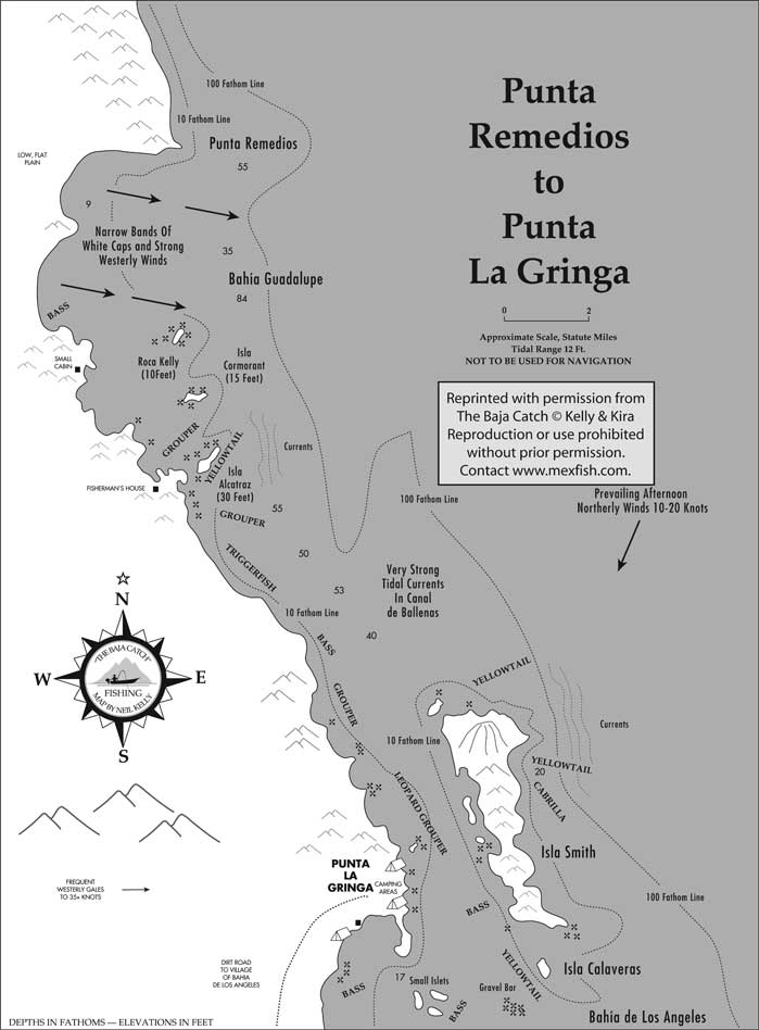Punta remedios fishing map for Fishing in los angeles