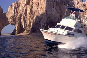 Photo of sportfishing cruiser at the arch, Cabo San Lucas, Baja California Sur, Mexico.