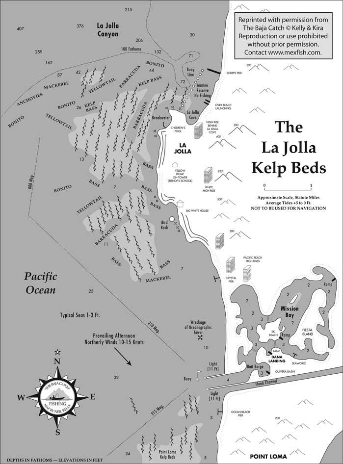 La Jolla Kelp Beds Fishing Map