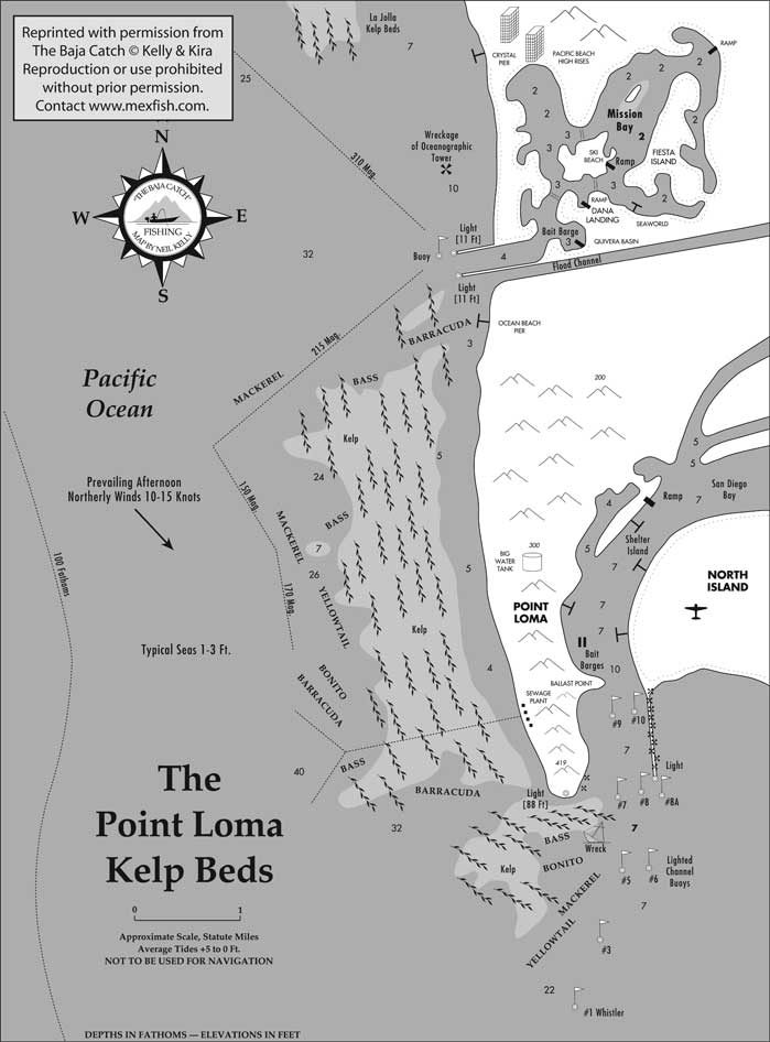 Point loma kelp beds fishing map for Point loma sportfishing fish count