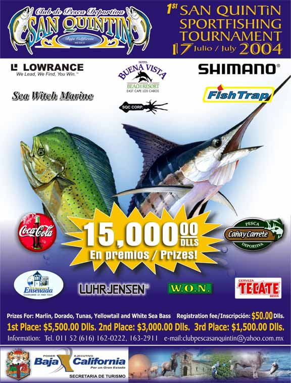 Official 2004 san quintin fishing tournament poster for Online fishing tournament